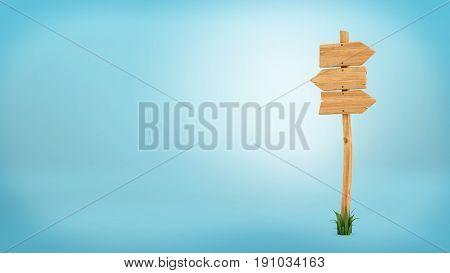 3d rendering of a wooden pole with some grass on it's base and three blank arrows on the top. Directional signs. Outdoor advertisement. Signposts and arrows.
