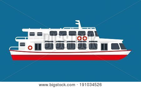 Big spacious white passengers liner with red bottom and life buoys on walls isolated cartoon vector illustration on navy background. Vessel for cruises around seas and oceans all over world.