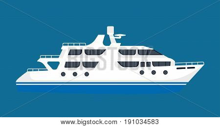 White luxurious passenger liner isolated on blue background. Vector colorful illustration in flat design of one huge ship transporting people abroad for summer vacations or holidays by sea or ocean