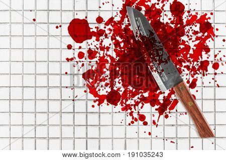 Knife With Grunge Of Blood On Toilet Mosaic Floor, Halloween Bloody Murder Or Death Crime Killer Vio