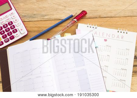notebook monthly planner record for business at office desk