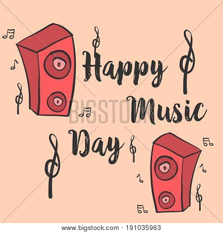 Music day card style vector art collection stock