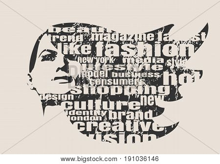 Face front view. Elegant silhouette of a female head. Vector Illustration. Monochrome gamma. Fashion Relative Keywords Cloud. Distressed grunge texture