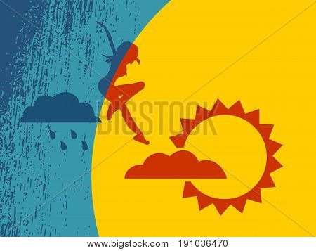 Woman is jumping from rainy cloud to the sun . Weather forecast icons. Grunge texture