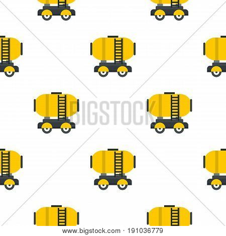 Waggon storage tank with oil pattern seamless flat style for web vector illustration