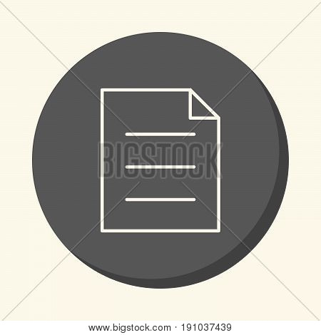 A sheet of paper with a curved corner and with three paragraphs of text a vector circular line icon with an illusion of volume