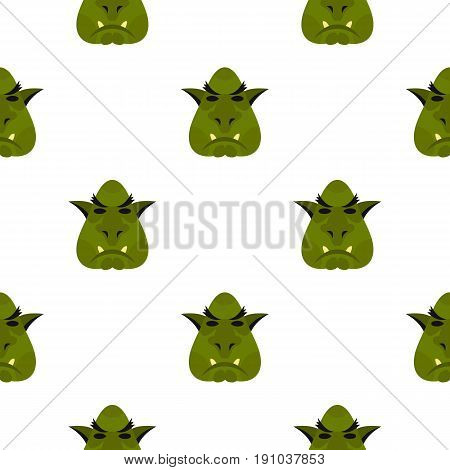 Head of troll pattern seamless flat style for web vector illustration