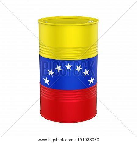 Venezuela Flag Oil Barrel isolated on white background. 3D render