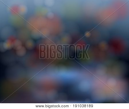 Abstract blur background with blurred bokeh on dark blue vector
