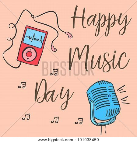Collection stock music day celebration card vector art