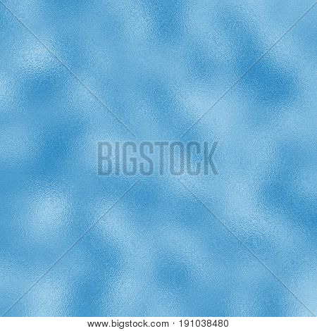 Colored foil raster texture for festive background. Blue foil pattern tile. Bright blue gradient. Glass frosted texture swatch