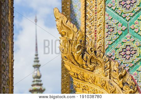 Thai Antique Art Decoration Buddhist Temple Wall, Golden Angle Wallpaper For Background Background D