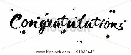 Congratulations calligraphy. Hand written text. Brush modern Lettering. Calligraphic banner. Vector