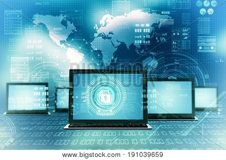 Internet Technology Secure computer network information concept