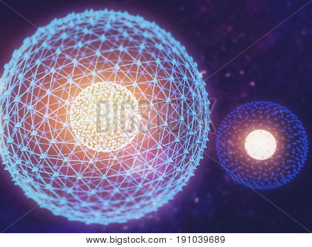 Nucleus Of Atom Nuclear Explode Ray Radiation Light Science 3D Illustration Abstract Blur Background
