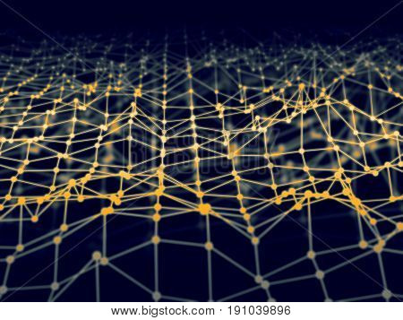 3D Illustration Abstract Grid Wireframe Contact Node Or Ground Terrain Communication Concept.