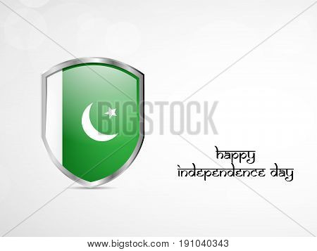 illustration of shield in Pakistan Flag background with Happy Independence Day text on the occasion of Pakistan Independence day