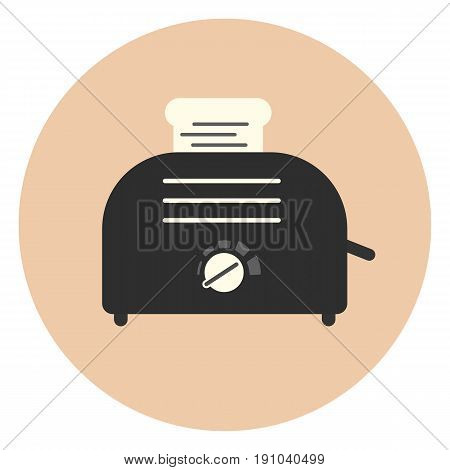Flat Monochrome Toaster Icon, Sandwich Equipment
