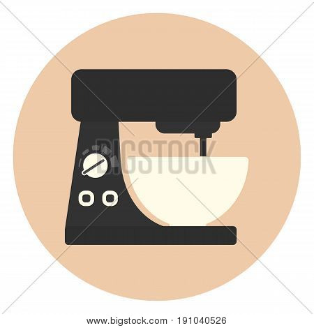 Flat Kitchen Mixer Icon, Cooking Equipment
