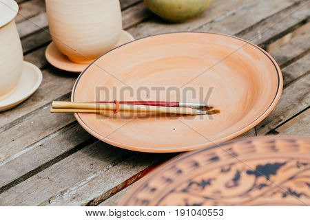 Sketch Drawing Tools For Paint Pattern In Earthenware, Making Of Handcraft Pottery In Sukhothai, Tha
