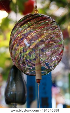 A spectacle of Japanese colorful glass wind chimes
