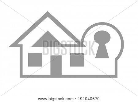 Home security and insurance web icon concept isolated on white background.