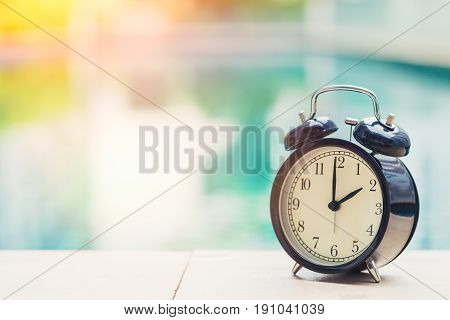 2 O'clock Retro Clock At The Swimming Pool Outdoor Holiday Time Concept.