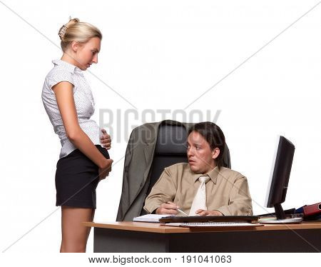Businessman and pregnant secretary  on a white background