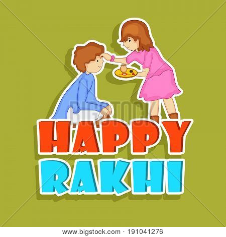 illustration of boy and girl with happy Rakhi text on occasion of Hindu festival Rakhi