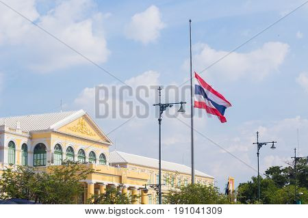 Bangkok, THAILAND-October 14 2016: Thailand to fly flags half-mast for one month following the death of King Bhumibol Adulyadej.