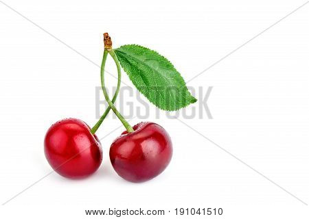 Berries ripe cherry on a white background. Isolated object