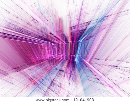 Abstract background element. 3d scan series. Fractal graphics. Perspective composition of light and shadow rays.
