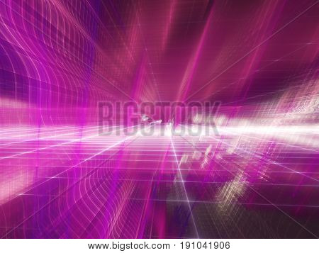 Abstract background element. Three-dimensional composition of repeating grids and glitch effects. Information technology concept.