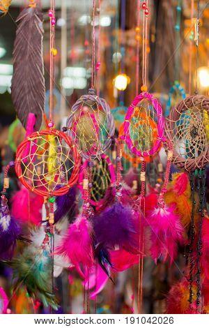vivid colorful dream catcher hanging decoration vibrant.