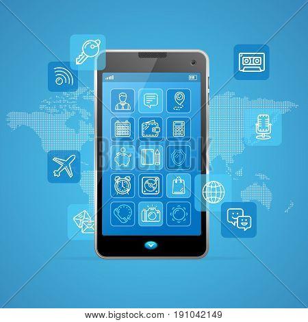 Web App Ui Ux Concept Mobail Phone Element Modern Design. Vector illustration