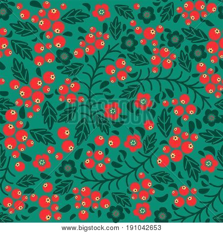 Seamless vector pattern in the Slavic style. Russian motives. Rowan and foliage.