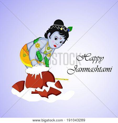illustration of hindu god krishna and pot of butter with Happy janamashtami text on the occasion of hindu festival Janamashtami