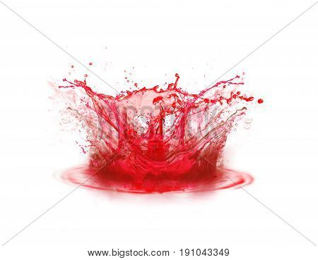 Blood colour drop splashing on white background (3D illustration)