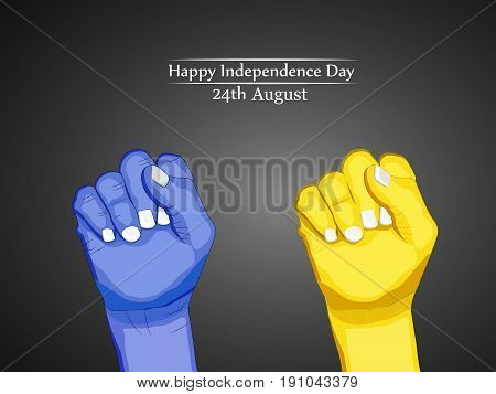 illustration of hands with Happy Independence Day 24th August text on the occasion of Ukraine Independence day