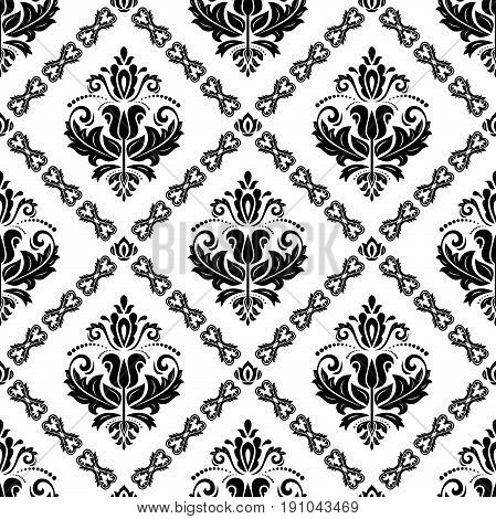 Damask classic black and white pattern. Seamless abstract background with repeating elements. Orient background