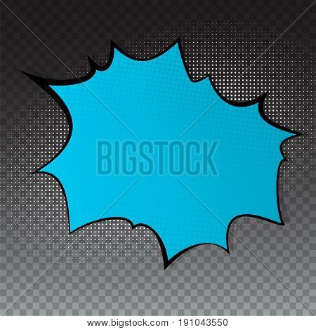 Pop art splash background, explosion in comics book style, blank layout template with halftone dots, dots pattern on transparent backdrop. Vector template for ad, covers, posters.