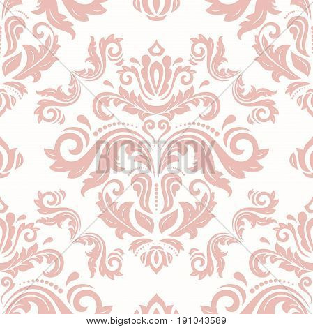 Seamless classic pink pattern. Traditional orient ornament. Classic vintage background