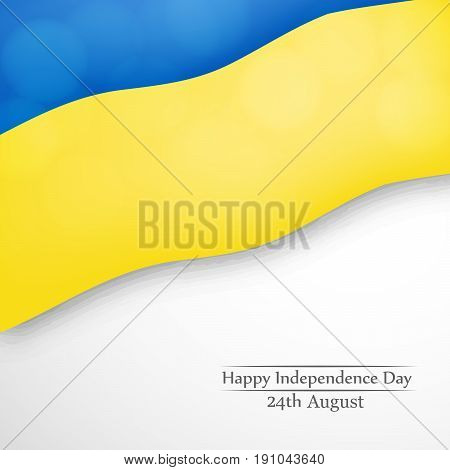 illustration of a hand holding  Ukraine's Flag with Happy Independence Day 24th August text on the occasion of Ukraine Independence day