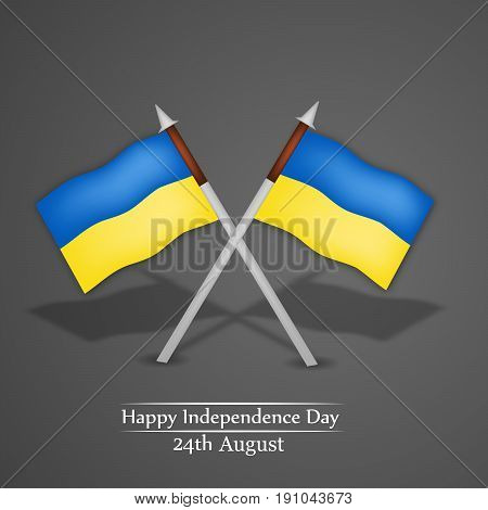 illustration of Ukraine Flags with Happy Independence Day 24th August text on the occasion of Ukraine Independence day