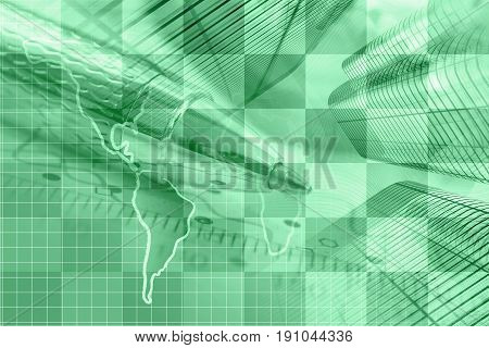 Business background in greens with map buildings and pen.