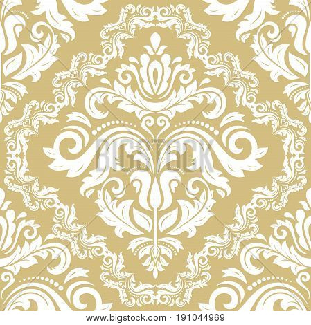 Damask classic white and golden pattern. Seamless abstract background with repeating elements. Orient background