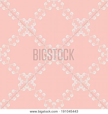 Seamless classic white and pink pattern. Traditional orient ornament. Classic vintage background