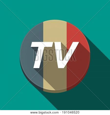 Long Shadow  Round Button With    The Text Tv