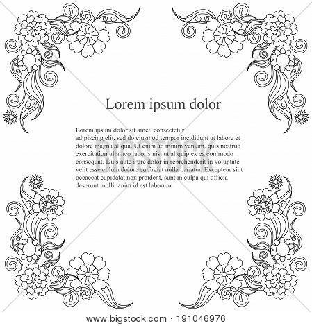 Monochrome flowering thin line hand drawn frame, Lorem ipsum stock vector illustration