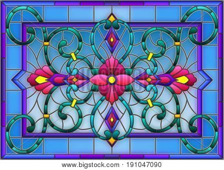 llustration in stained glass style with abstract swirlsflowers and leaves on a light backgroundhorizontal orientation